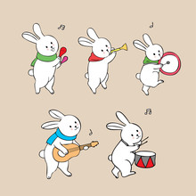 Cartoon Cute White Rabbits Playing Music Vector.