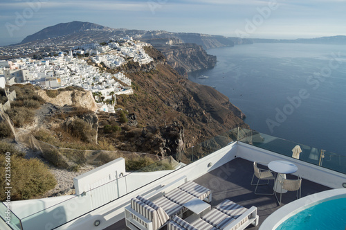 . Whitewashed Houses on Cliffs with Sea View and Pool in Fira