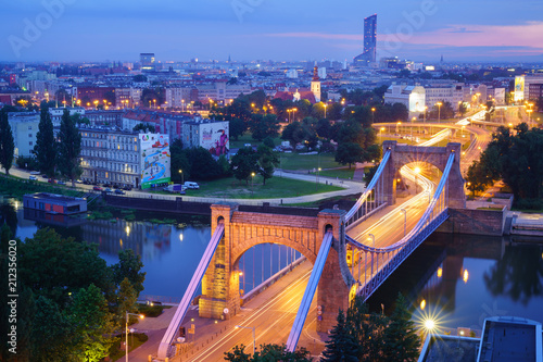 Wroclaw cityscape in the evening (sunset)