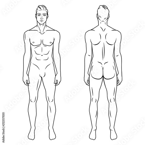 image about Printable Outline of Human Body Front and Back known as Gentleman entire human body entrance and again see template. Vector
