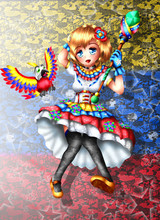 Magical Girl Inspired By The Colors Of The Venezuela Flag And Your Friend Guaqui, Anime Style.