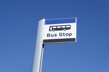 Bus Stop Sign Sky Background Blue White Clouds View Below Information Public Transport School Old Age Pensioner Travel Free Coach Post Uk