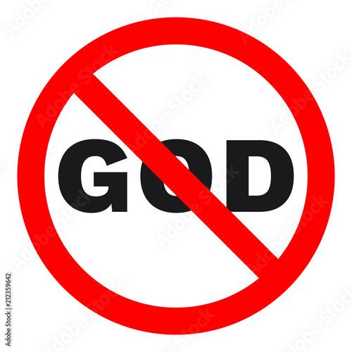 NO GOD sign. Vector. Canvas Print
