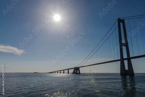 Fotobehang Brug Great Belt bridge at sunny day