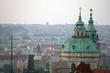 Panorama of Prague at dawn in front of the church of Saint Nicholas, Prague, Czech Republic