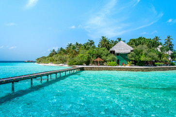 Maldives beautiful beach background white sandy tropical paradise island with blue sky