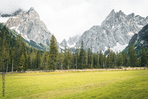 Fotobehang Zwavel geel Mountains Lakes and Nature in the Dolomites, Italy