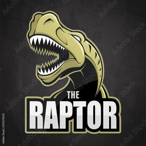 Photo  Cartoon emblem of dinosaur on a dark background