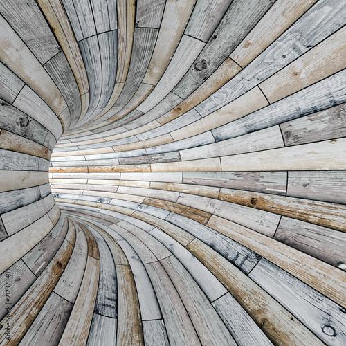 Tunel z fakturą drewna