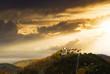 Amazing sunset at Rasnov medieval citadel in Transylvania