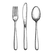 Cutlery Hand Drawing Vector. I...