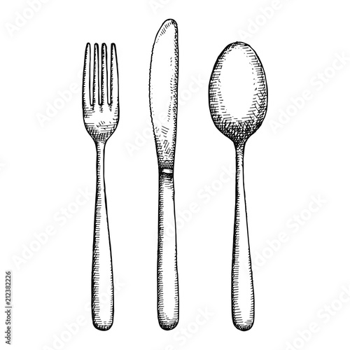 Fotografía cutlery hand drawing vector. isolated spoon fork and knife