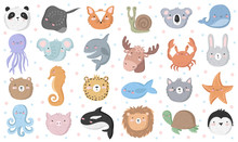 Vector Set Of Cute Funny Animals. Sticker Collection With Adorable Doodle Objects On Background, Pastel Colors