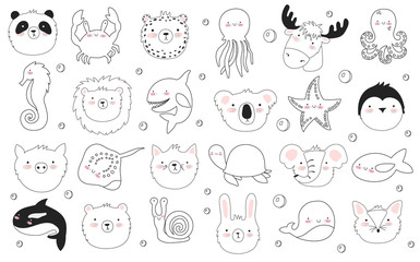 Vector set of cute funny animals. Sticker collection with adorable doodle objects on background