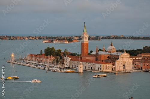 Stickers pour porte Venise Aerial cityscape of Venice with Santa Maria della Salute church, Veneto, Italy