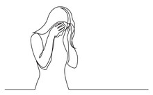 Continuous Line Drawing Of Woman Hiding Her Face In Despair