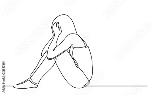 Obraz na płótnie continuous line drawing of woman sitting on floor in despair