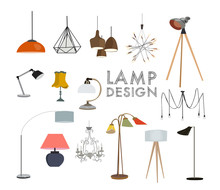 Vector Lighting Lamp Illustration. Floor Lamp, Table Lamp, Pendant, Interior Design