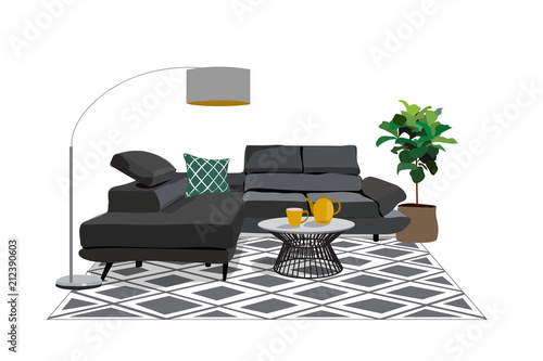 Vector Interior Design Illustration Living Room Furniture Corner