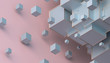 Abstract 3d rendering of geometric shapes. Composition with cubes. Modern background design for poster, cover, branding, banner, placard.