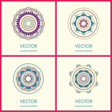 Collection Of 4 Round Ornaments. Hand Drawn Background. Vector Illustration.