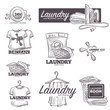 Laundry service vector sketch icons