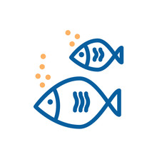 Icon Of A Fish Couple. Vector Thin Line Illustration For Summer Holidays Near The Sea, Marine Subjects, Fishing, Aquarium, Healthy Omega Food..