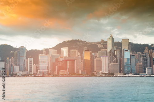 Staande foto Stad gebouw Sunset skyline over Hong Kong business downtown skyline, cityscape background