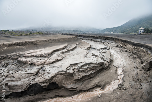 ground fracturing the sand sea of Mount Bromo