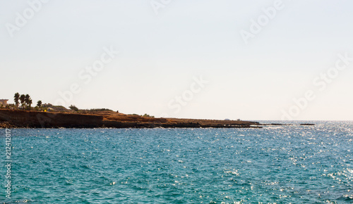 Foto op Canvas Cyprus Stone cliff in a beautiful blue sea Cyprus