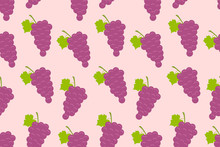 Seamless Pattern With Grapes. Flat Style. Isolated On Pink Background