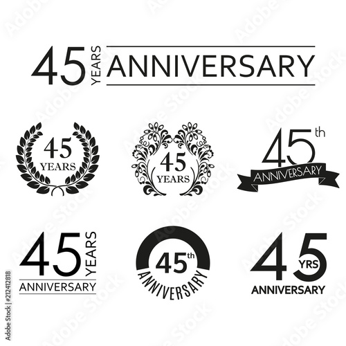 45 years anniversary icon set Poster