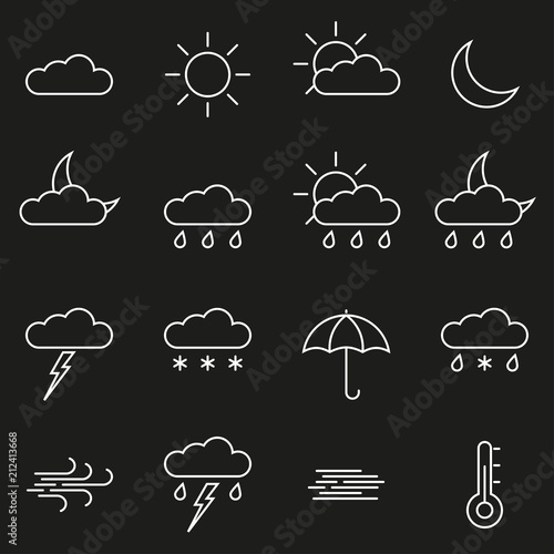 Weather line icon set  Outline weather forecast symbols