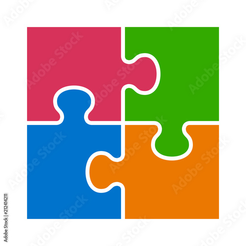 Obraz Square four pieces of jigsaw puzzle or teamwork concept flat vector color icon for apps and websites - fototapety do salonu