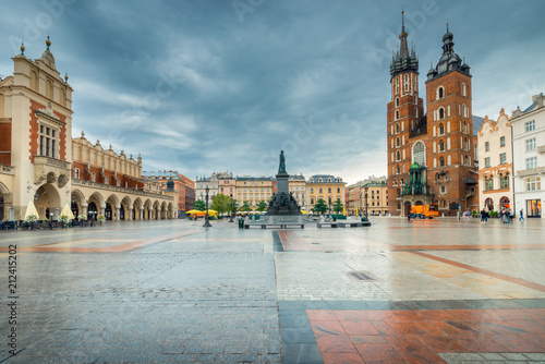 Fototapeta Poland, the center of Krakow, the main attractions of the city on a cloudy day obraz