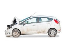 Side View Of A Broken Car After An Accident Is Isolated On A White Background