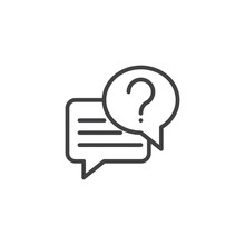 Conversation Chat Outline Icon. Linear Style Sign For Mobile Concept And Web Design. Dialogue With Question Mark Simple Line Vector Icon. FAQ Symbol, Logo Illustration. Pixel Perfect Vector Graphics