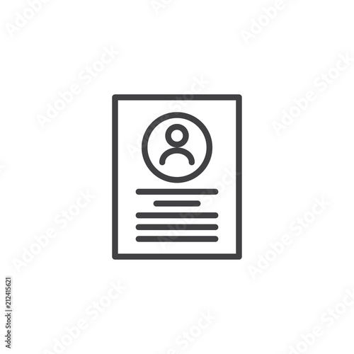 Resume Cv Document Outline Icon Linear Style Sign For Mobile Concept And Web Design