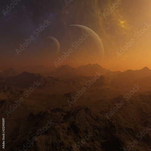 Foto op Aluminium Chocoladebruin 3d rendered Space Art: Alien Planet - A Fantasy Landscape