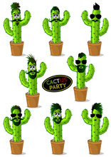Set Of Cartoon Cactus-hipsters...