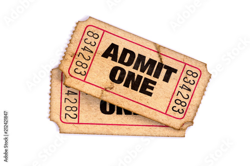 Old admit one torn used tickets isolated white background Canvas Print