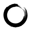 Black brush strokes in the form of a circle. Design element for poster, card, sign, banner.