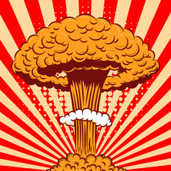 Nuclear explosion in cartoon style on comic background. Design element for poster, card, banner, flyer.