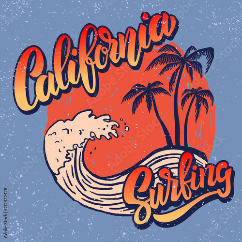 California surf rider. Poster template with lettering and palms. Canvas Print