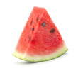 canvas print picture - single slice of ripe red watermelon slice isolated on white background