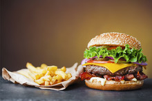 Big Cheeseburger With Heap Of ...