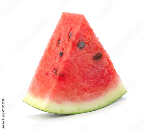 Fényképezés single slice of ripe red watermelon slice isolated on white background