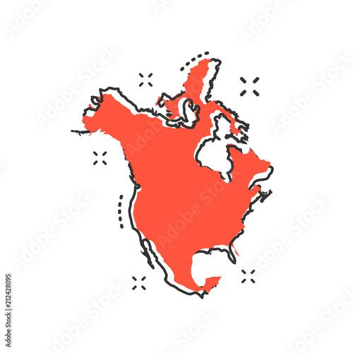 Cartoon North America map icon in comic style. North America ... on