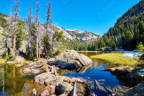 Foto op Canvas Verenigde Staten Lone Pine Lake, Rocky Mountains, Colorado, USA.