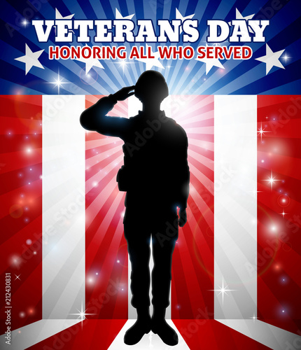 Saluting Soldier Veterans Day American Flag Fototapet